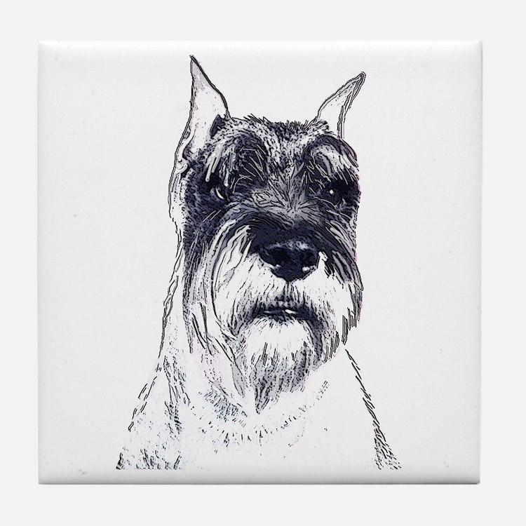 schnauzer portrait Tile Coaster