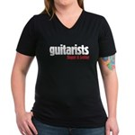 Guitarists finger it better Women's V-Neck Dark T-