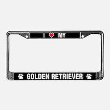 I Love My Golden Retriever License Plate Frame