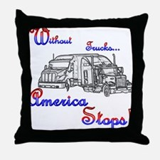 America Stops  Throw Pillow