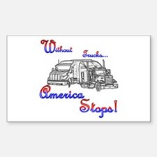America Stops Rectangle Decal