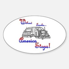 America Stops Oval Decal