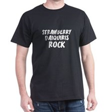 Strawberry Daiquiris Rock Black T-Shirt
