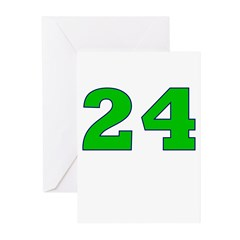 Twenty-four Green/Blue Greeting Cards (Package of