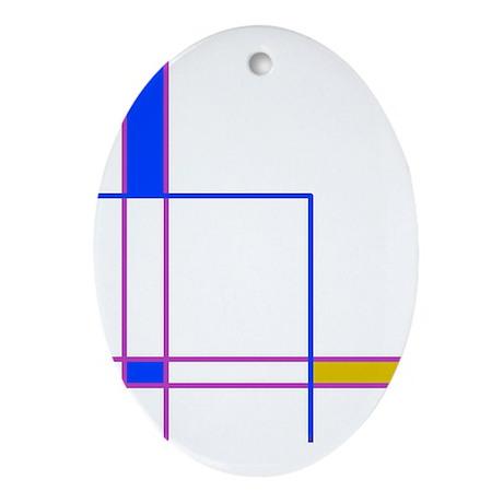 Modern Plaid Oval Ornament
