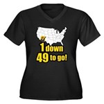 1 down 49 to go Women's Plus Size V-Neck Dark T-Sh