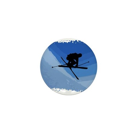 Skier Jumping Skis Crossed Mini Button (10 pack)