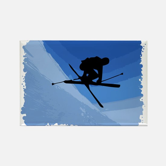Skier Jumping Skis Crossed Rectangle Magnet (10 pa