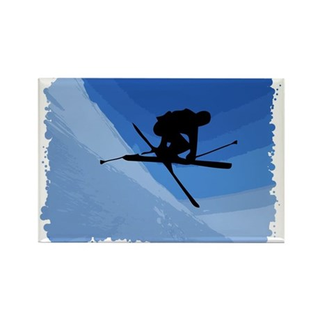 Skier Jumping Skis Crossed Rectangle Magnet