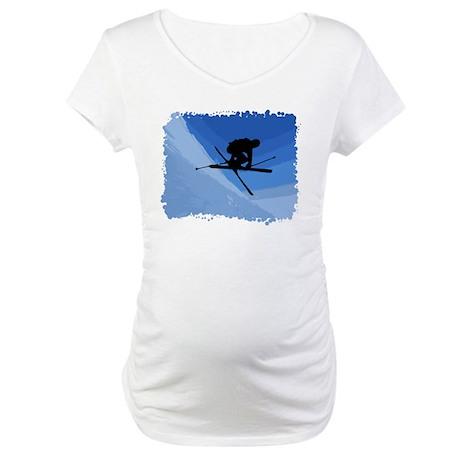 Skier Jumping Skis Crossed Maternity T-Shirt