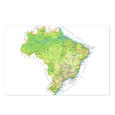 Brazil Map Postcards (Package of 8)