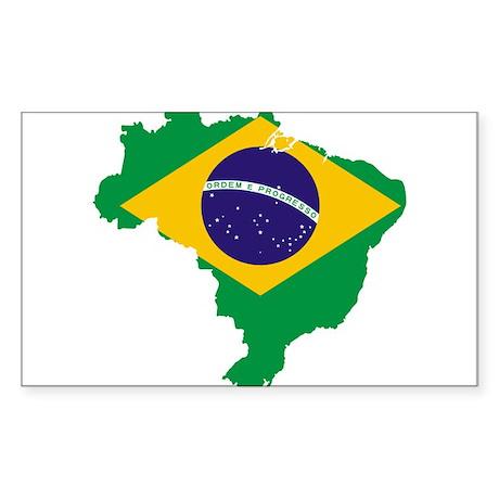 Brazil Flag/Map Sticker (Rectangle)