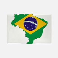 Brazil Flag/Map Rectangle Magnet