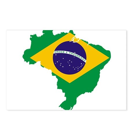 Brazil Flag/Map Postcards (Package of 8)