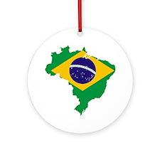 Brazil Flag/Map Ornament (Round)