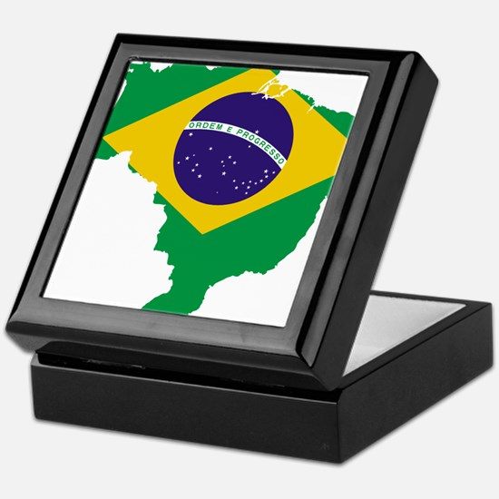 Brazil Flag/Map Keepsake Box