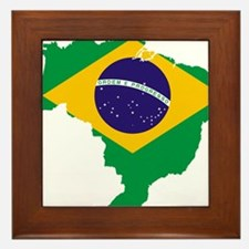 Brazil Flag/Map Framed Tile