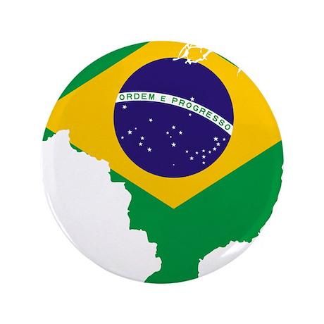 """Brazil Flag/Map 3.5"""" Button"""