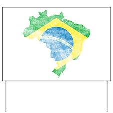 Brazil Flag/Map Distressed Yard Sign