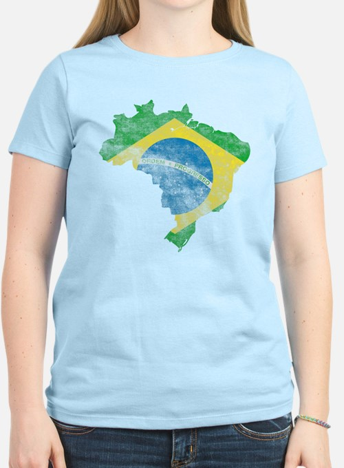 Brazil Flag/Map Distressed T-Shirt