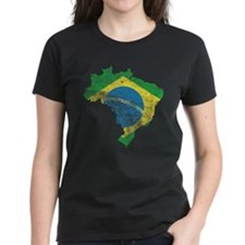 Brazil Flag/Map Distressed Tee