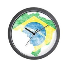Brazil Flag/Map Distressed Wall Clock