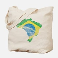 Brazil Flag/Map Distressed Tote Bag