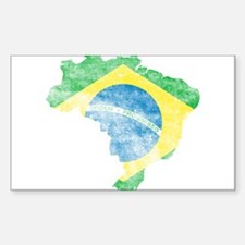 Brazil Flag/Map Distressed Decal