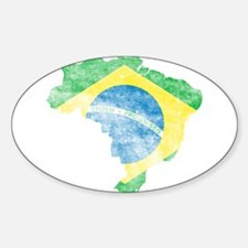 Brazil Flag/Map Distressed Sticker (Oval)