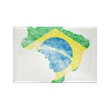 Brazil Flag/Map Distressed Rectangle Magnet (10 pa
