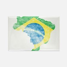 Brazil Flag/Map Distressed Rectangle Magnet