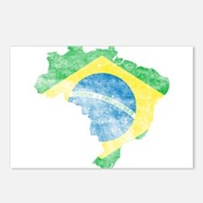 Brazil Flag/Map Distressed Postcards (Package of 8