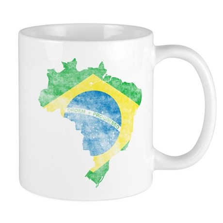 Brazil Flag/Map Distressed Mug