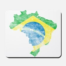Brazil Flag/Map Distressed Mousepad