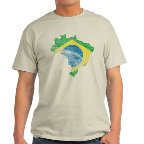 Brazil Flag/Map Distressed Light T-Shirt