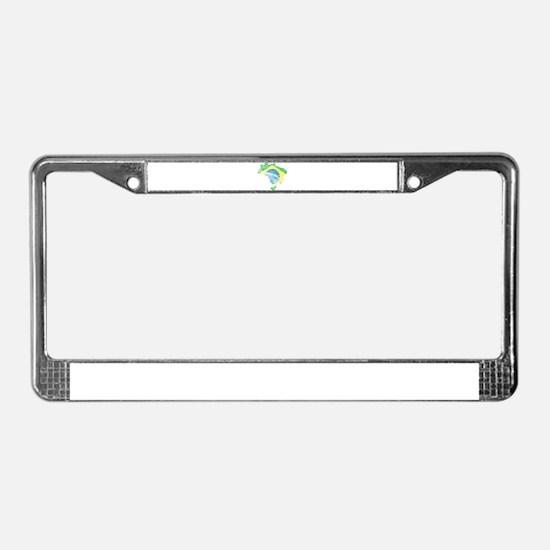 Brazil Flag/Map Distressed License Plate Frame