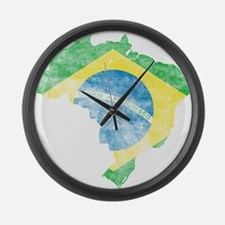 Brazil Flag/Map Distressed Large Wall Clock