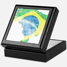 Brazil Flag/Map Distressed Keepsake Box