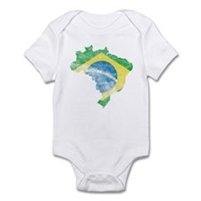 Brazil Flag/Map Distressed Infant Bodysuit