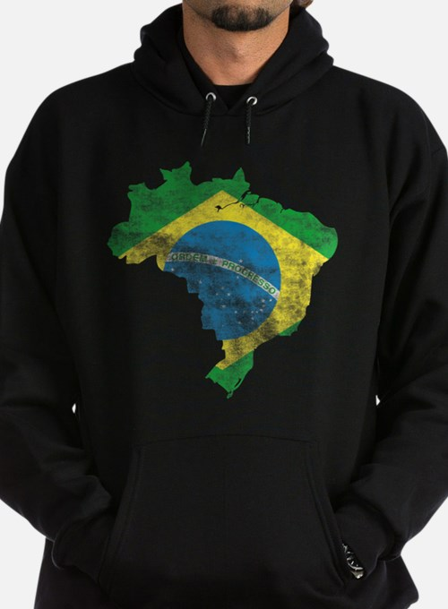 Brazil Flag/Map Distressed Hoodie