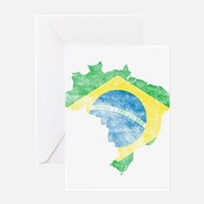 Brazil Flag/Map Distressed Greeting Card