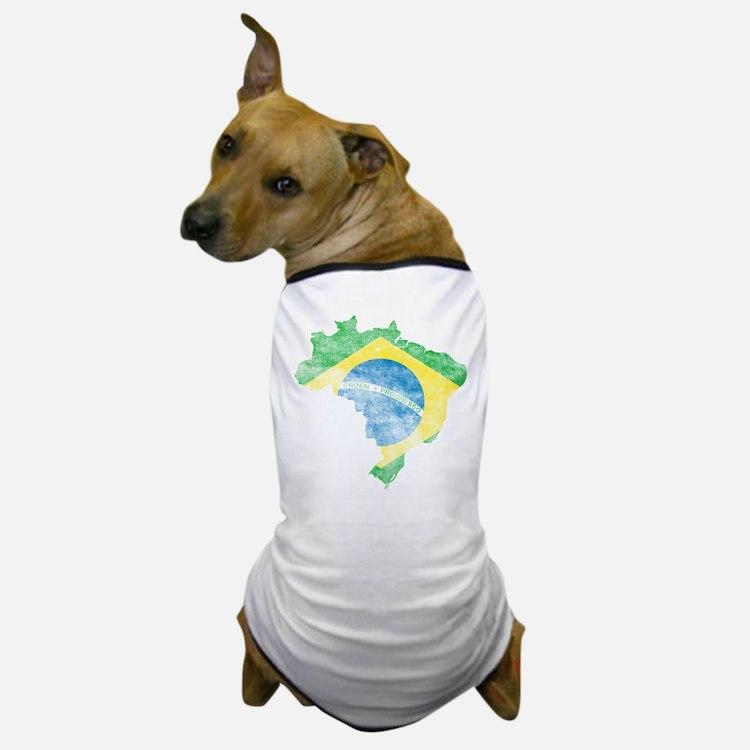 Brazil Flag/Map Distressed Dog T-Shirt