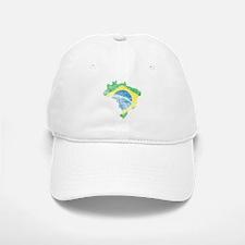Brazil Flag/Map Distressed Baseball Baseball Cap