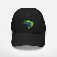 Brazil Flag/Map Distressed Baseball Hat