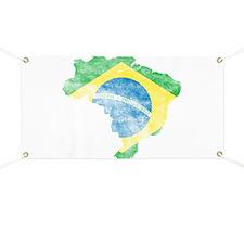 Brazil Flag/Map Distressed Banner