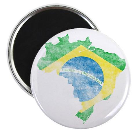 "Brazil Flag/Map Distressed 2.25"" Magnet (10 pack)"