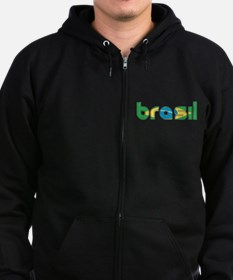 Brazil Flag in Name Zip Hoodie