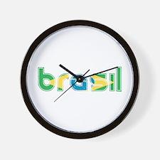 Brazil Flag in Name Wall Clock