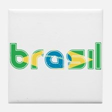Brazil Flag in Name Tile Coaster