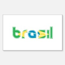 Brazil Flag in Name Decal